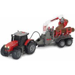 Leksakstraktor Massey Ferguson 8737 med trailer Dickie Toys