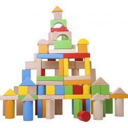 Byggklossar i trä 100 delar