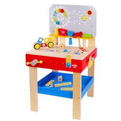 Stor leksaksarbetsbänk i trä för barn som gillar att snickra.