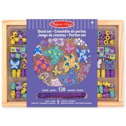 Pärlor i trä i fina färger 120 delar