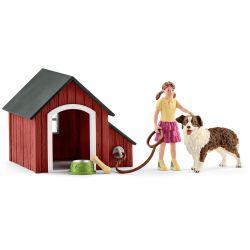 Schleich Hundkoja med figur och hund 42376