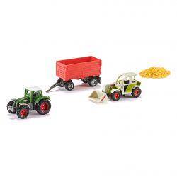 Siku Blister med två traktorer och en vagn med foder