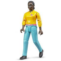 Bruder figur kvinna med ljusblå byxor och gul tröja 60404