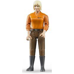 Bruder figur kvinna med bruna byxor och orange tröja 60407