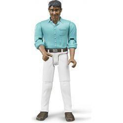 Bruder figur man med vita byxor och ljusblå tröja 6003