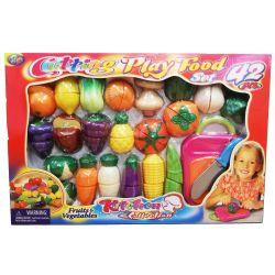 Leksaksmat Playfood Grönsaker, kniv och skärbräda 42 st. delar