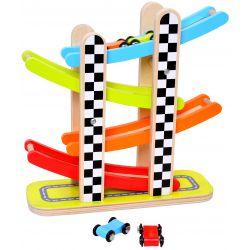 Bilbana i trä leksak med bilar Tooky Toy