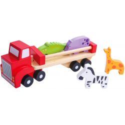 Leksakslastbil i trä, djurtransport Tooky Toy