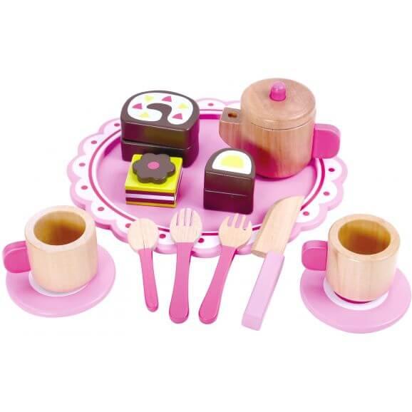 Teset leksak i trä med tillbehör till leksaksmat Tooky Toy