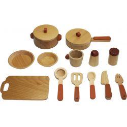 Kastrullset i trä till minikök för barn 15 delar Woodi World Toy