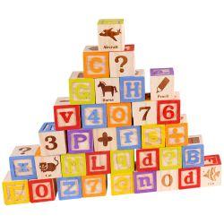 Alfabetsklossar leksak stort paket 50 delar Tooky Toy