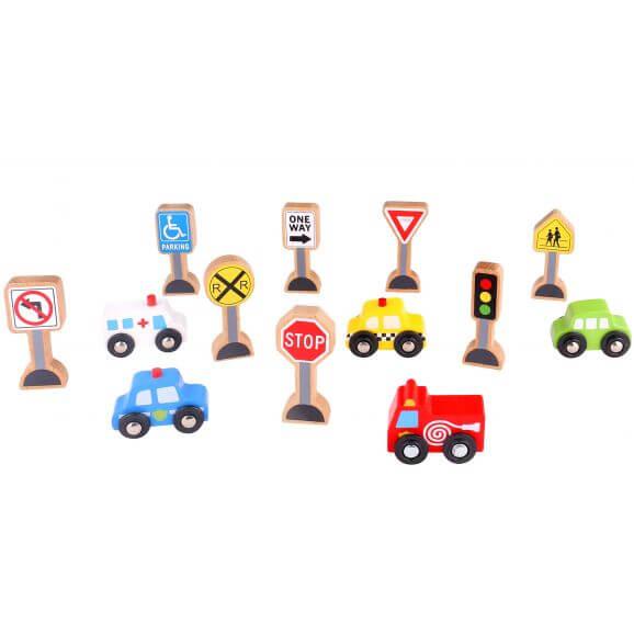 Tooky Toy Vägmärken och bilar tillbehör till tågset