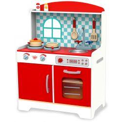 Leksakskök i trä, classic röd och vit, Tooky Toy