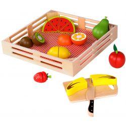 Låda med delbara frukter i trä, Tooky toy
