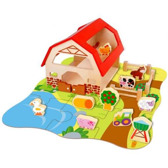 Tooky Toy Bondgård och Lekplatta i trä med bondgårdsdjur