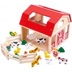 Tooky Toy Lantgård i trä för barn med leksaksdjur