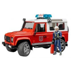 Bruder Land Rover Defender Station Wagon brandbil med brandman