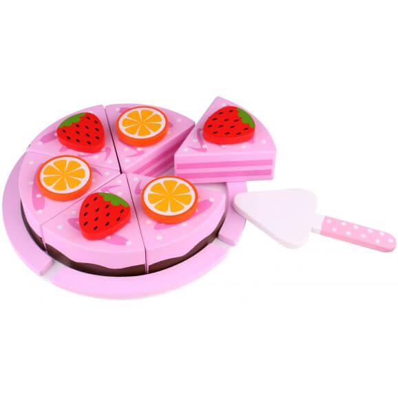 Tooky Toy Delbar leksakstårta med frukt i trä till barnkök