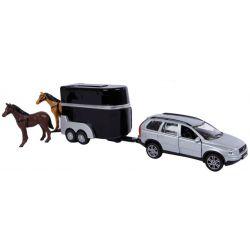 Kids Globe Leksaksbil Volvo XC90 med hästtrailer