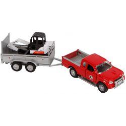 Kids Globe Leksaksbil Pick-Up med släp och grävmaskin