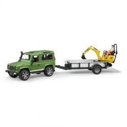 Bruder Landrover med släpvagn och grävmaskin 02593