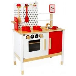 Minikök med ugn och diskho röd ochvit