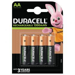AA, Uppladdningsbara Duracell Batterier Plus 1300mAh. 4 st