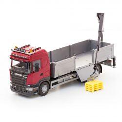 Scania röd lastbil med Kran 1:25