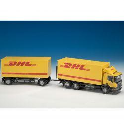 Scania DHL distributionsbil med släp. 1:25