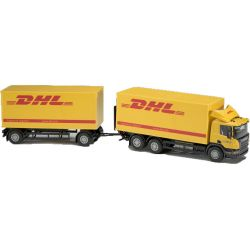Scania DHL distributionsbil med släp. 1:25
