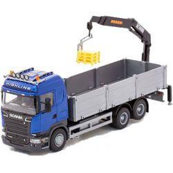 Scania blå lastbil med Kran 1:25