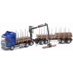 Scania timmerbil med kran. Blå. EMEK 1:25