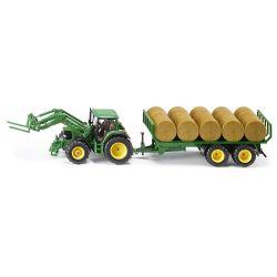 Traktor John Deere 6920 med rundbalssläp. Siku.