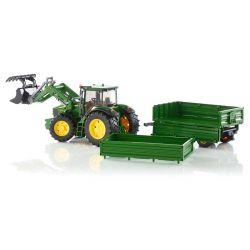 Bruder Traktor John Deere 7930 Frontlastare och Släp 03055