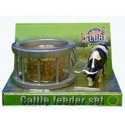 Kids Globe feeder ring with round bale and cow 1:32