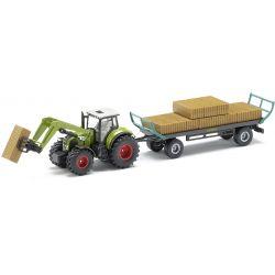 Claas Axion 850 traktor balgrip och med höbalsläp. Siku. Skala 1:50