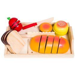 Leksaksmat tomat, brödskivor, kniv