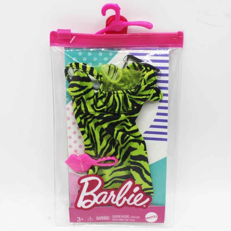 Barbiekläder dress med glasögon och väska