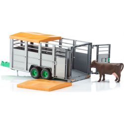 Boskapsvagn trailer med 1 st ko. Bruder.